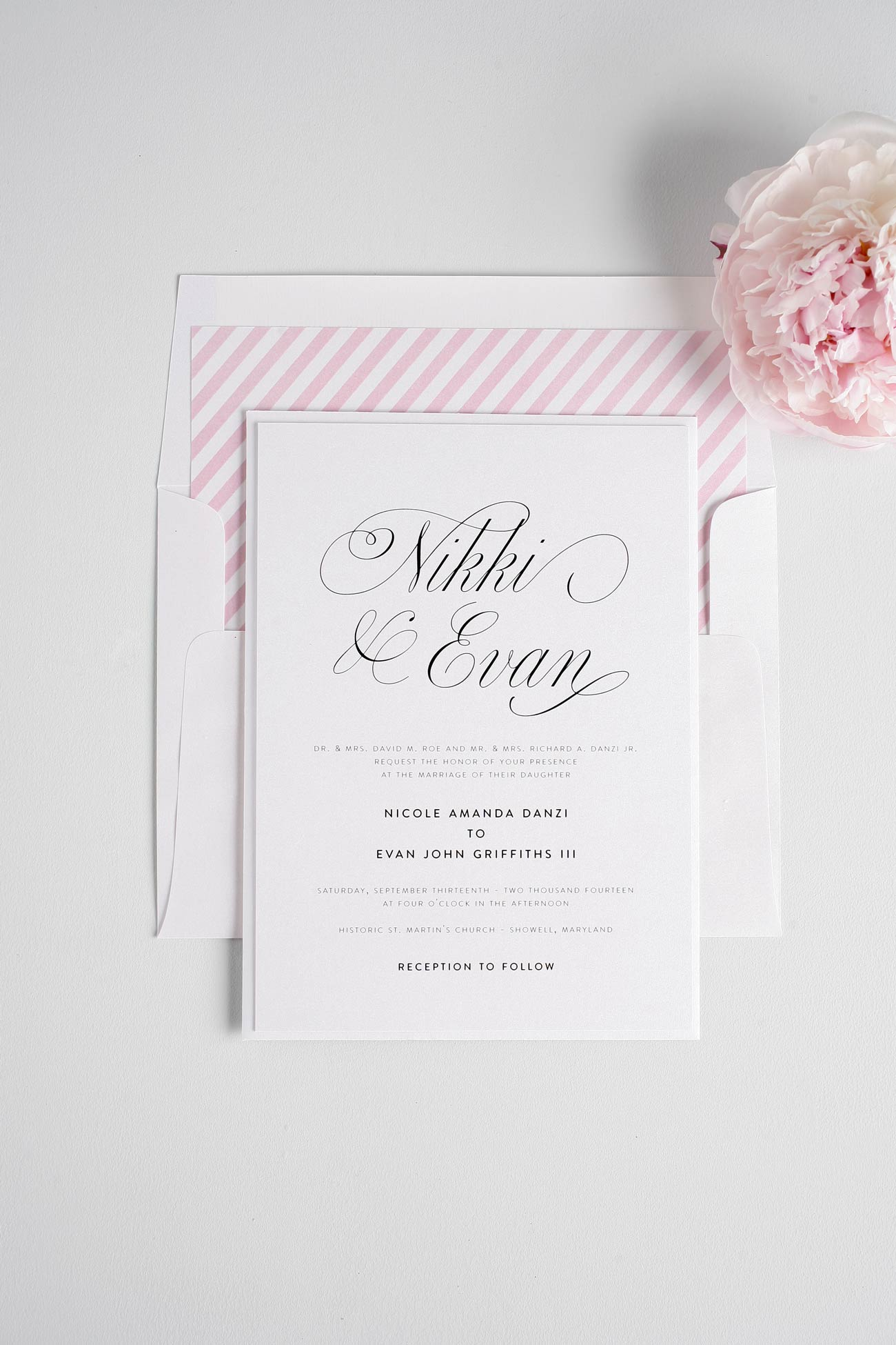 Pink elegant wedding invitations