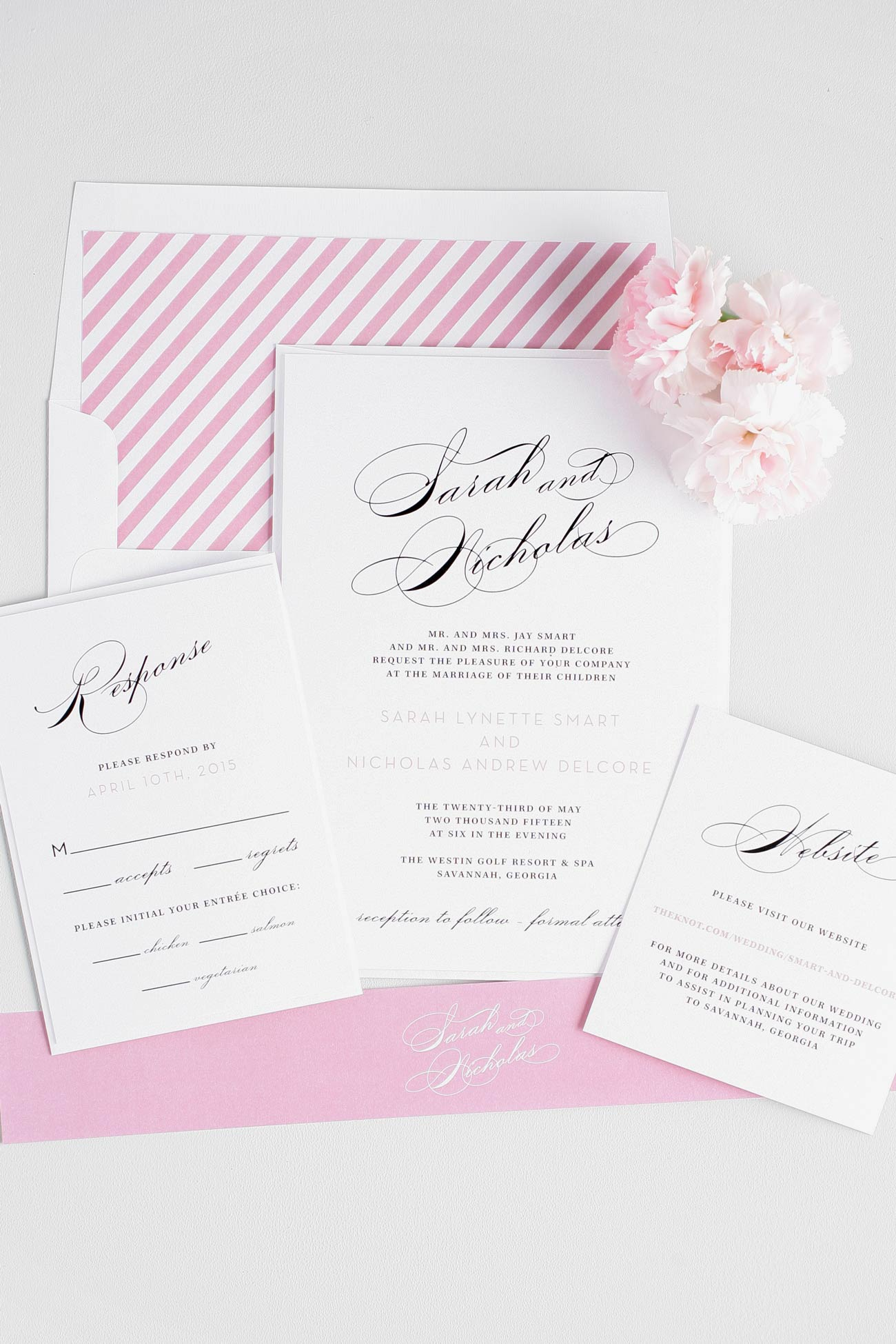 Pink striped vintage wedding invitations