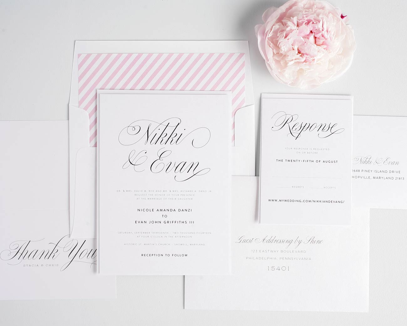 Pink striped wedding invitations