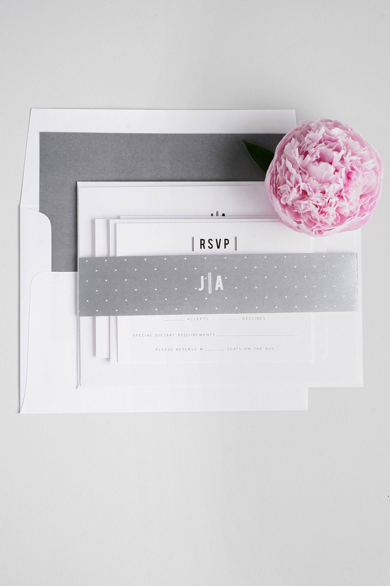 Polka Dot gray wedding invitations with monogram