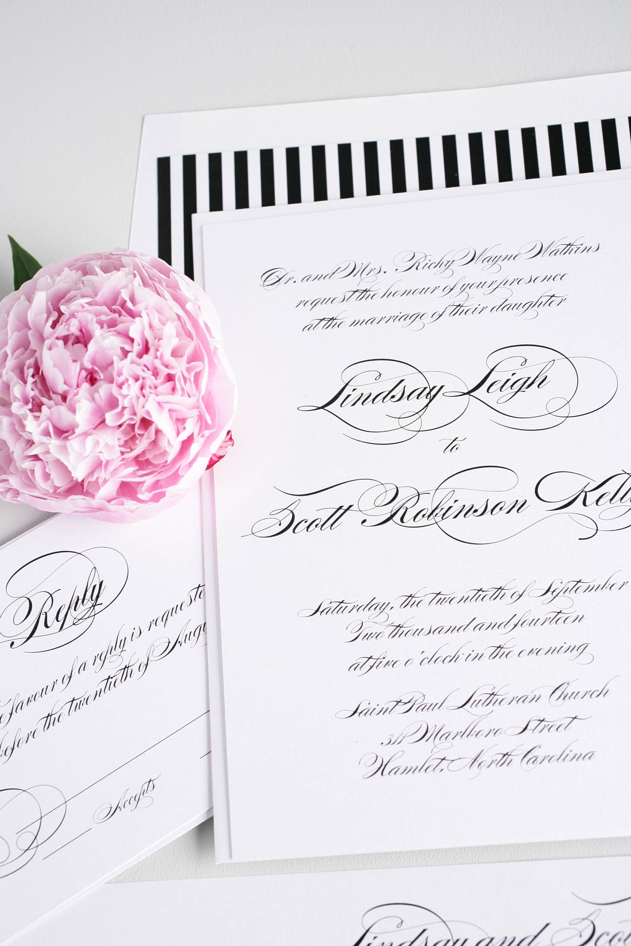 Script black and white elegant wedding invitations
