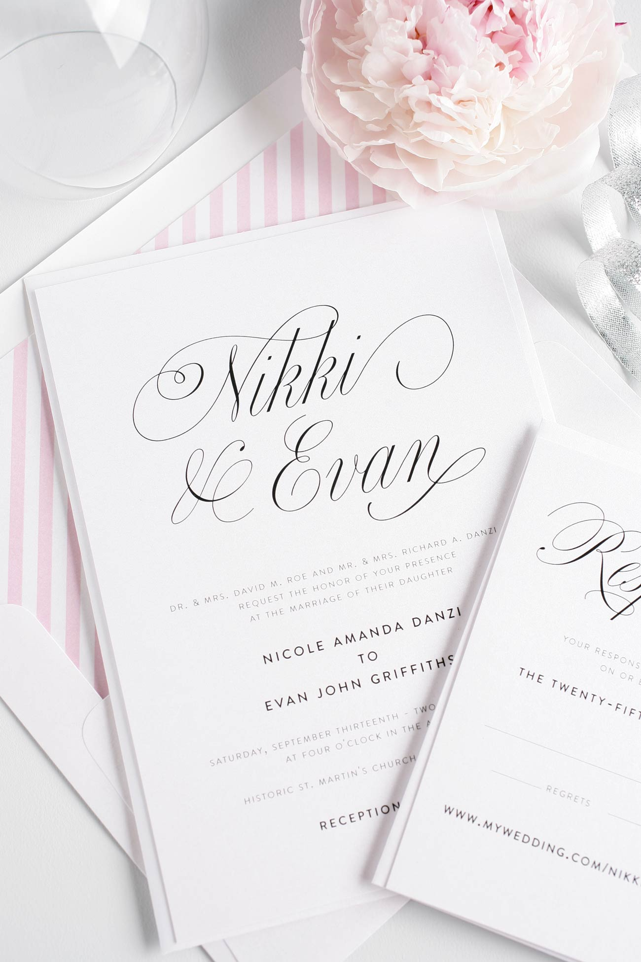 Script wedding invitations in blossom pink