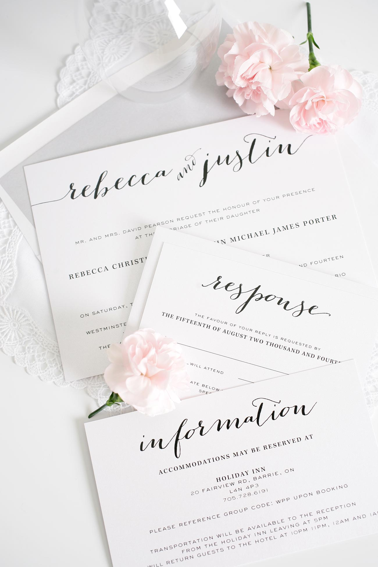 Script Wedding Invitations in Silver
