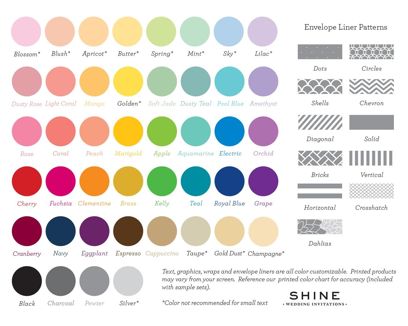 Shine Wedding Invitations Color Chart