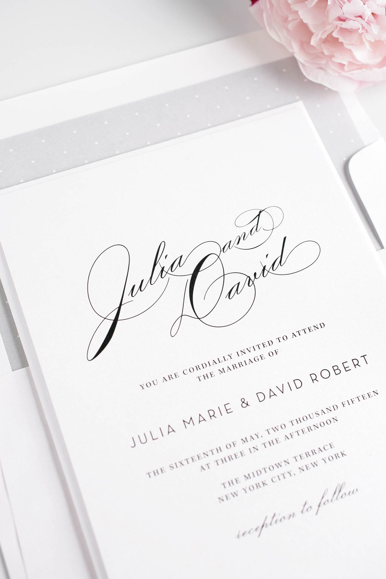 Silver Wedding Invitations with polka dots