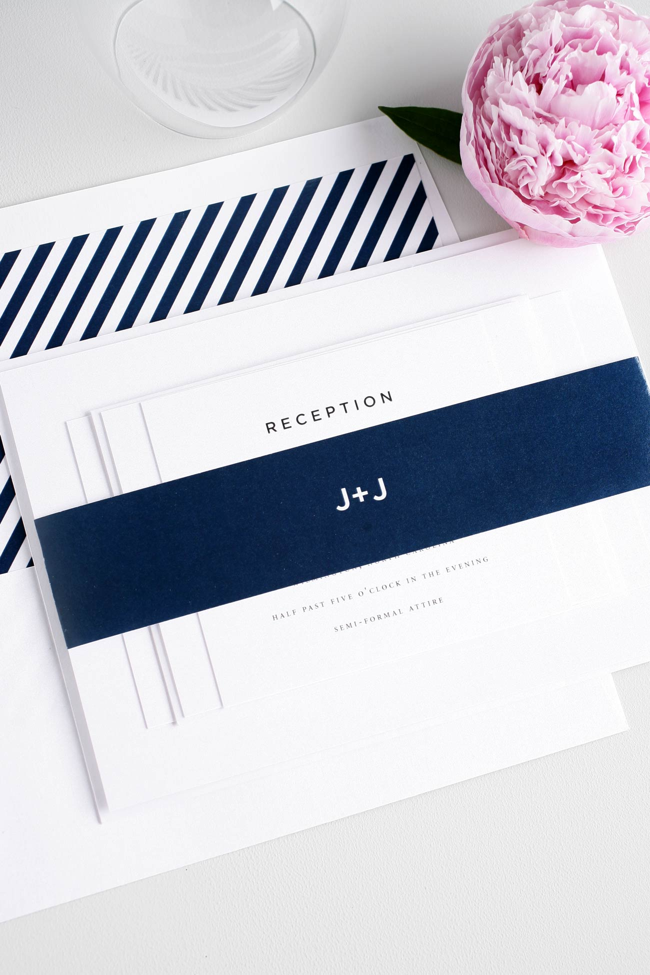 Urban navy wedding invitations with stripes