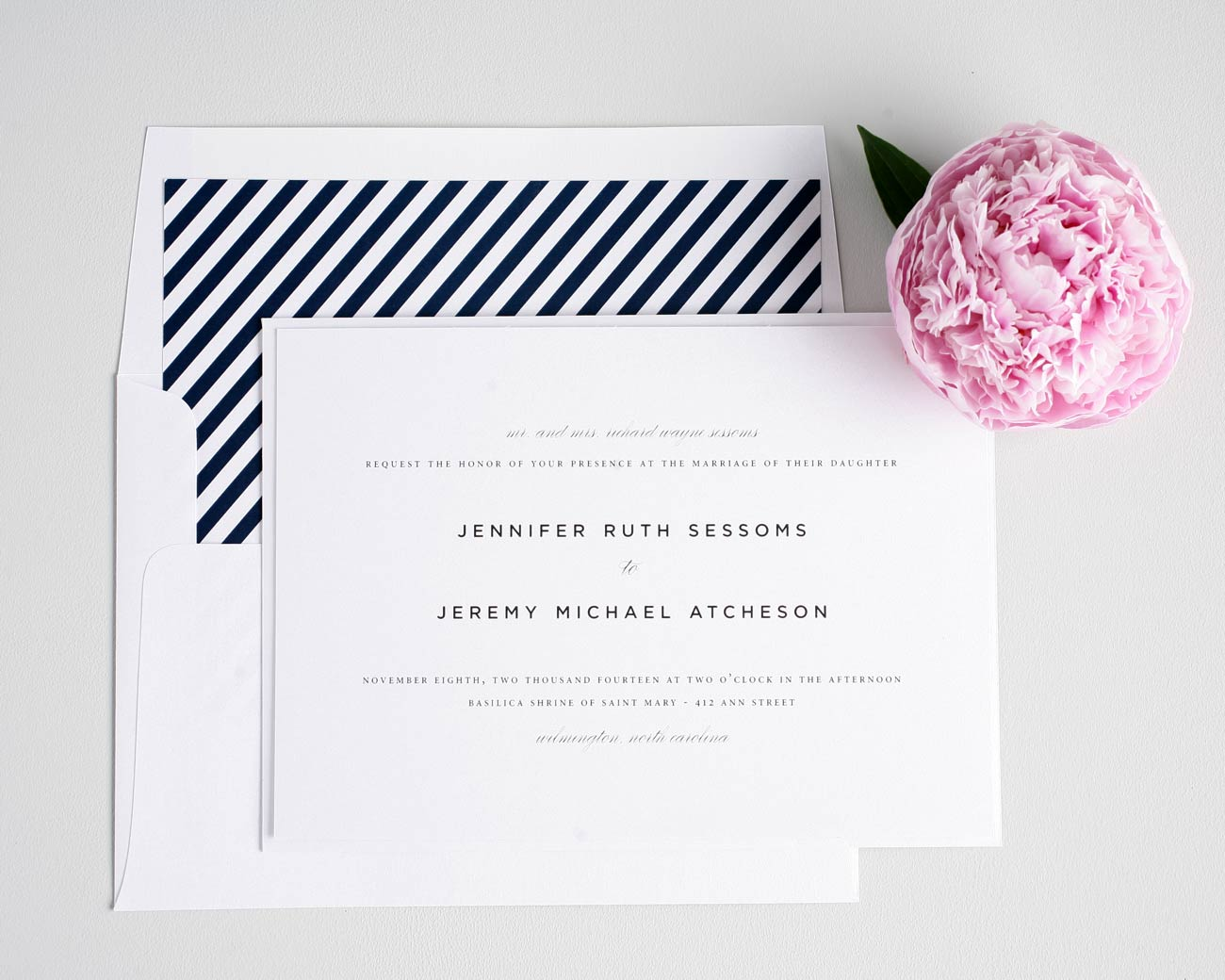 Navy blue urban wedding invitations
