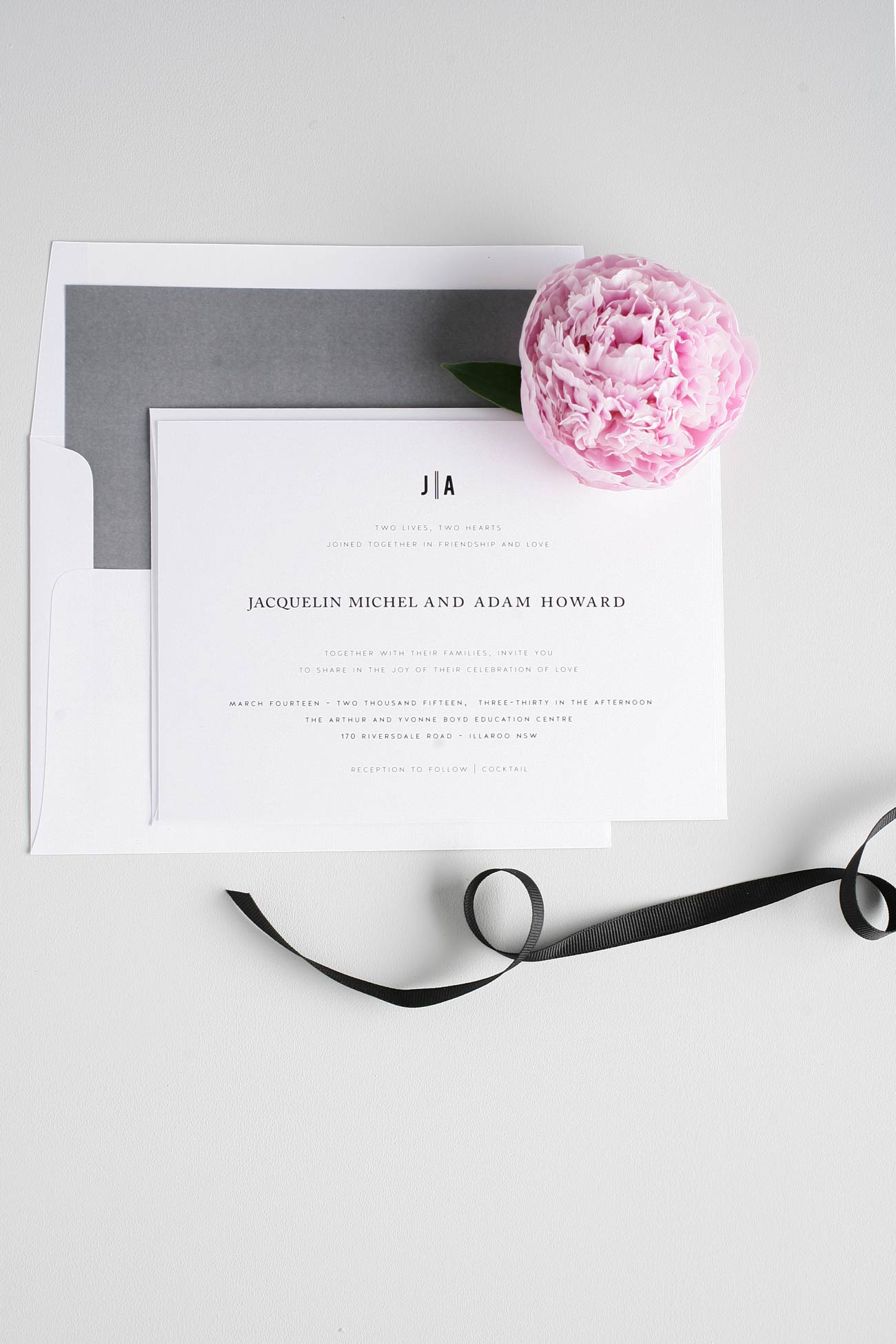 Urban wedding invitations in gray