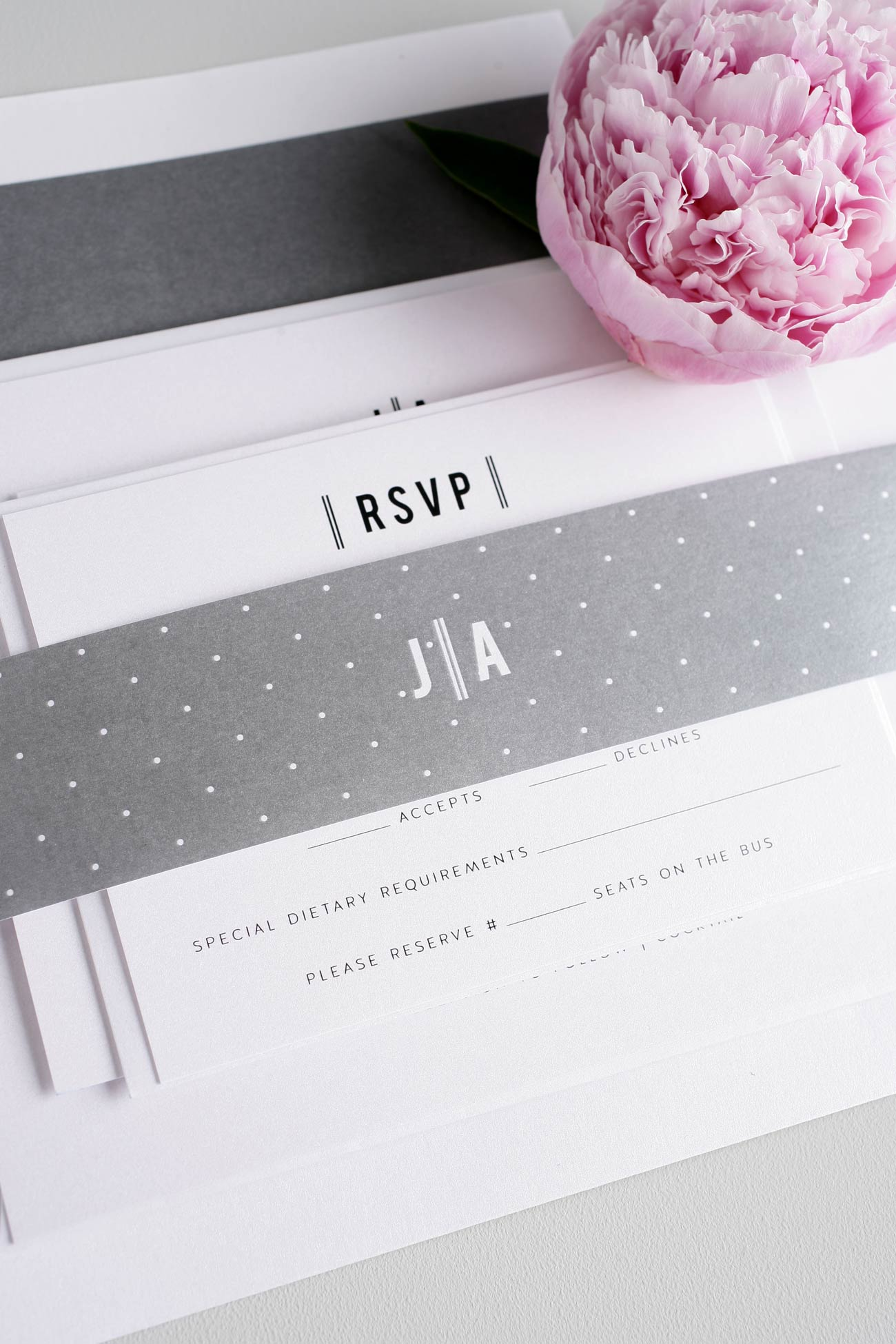 Vintage Gray Wedding Invitations with polka dots