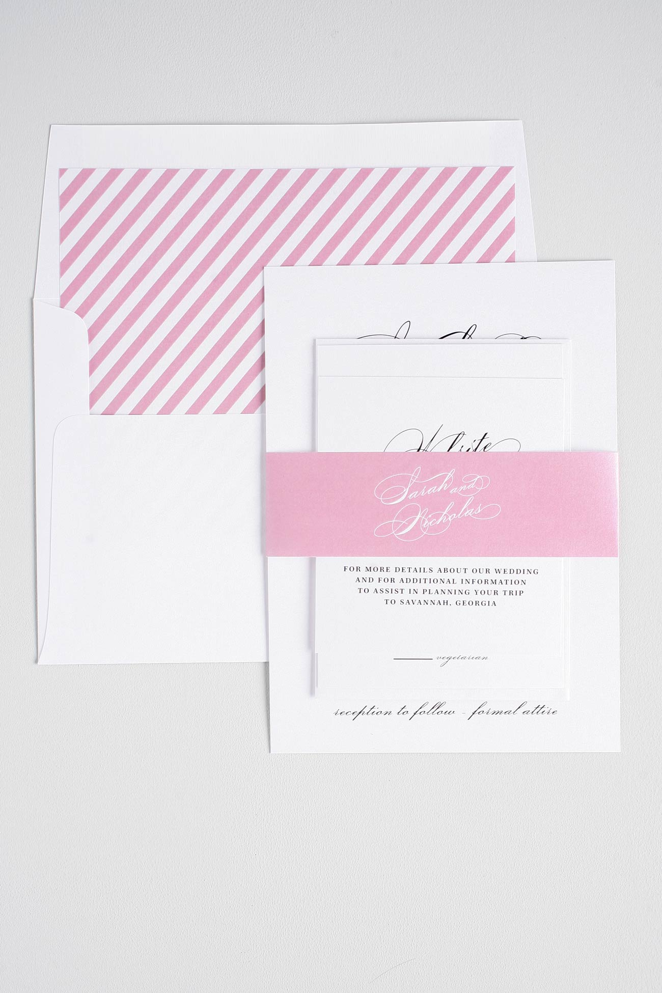 Vintage Glam wedding invitations in pink and black
