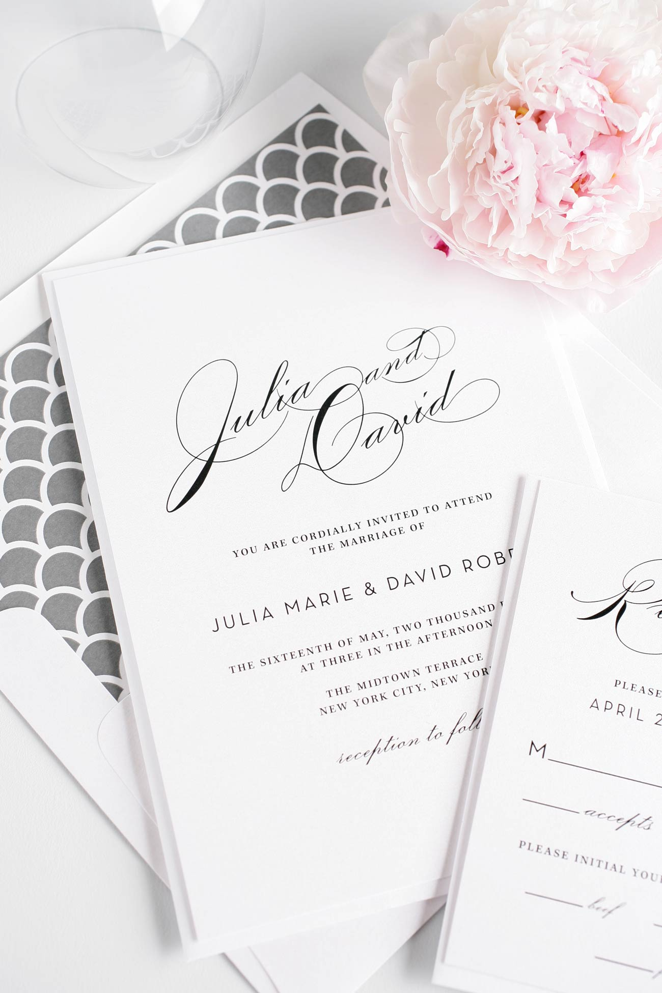 Vintage Gray Wedding Invitations
