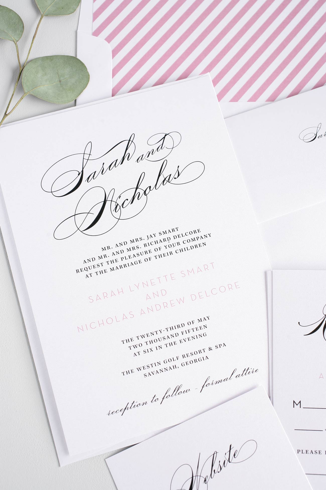Vintage Pink and Black Wedding Invitations