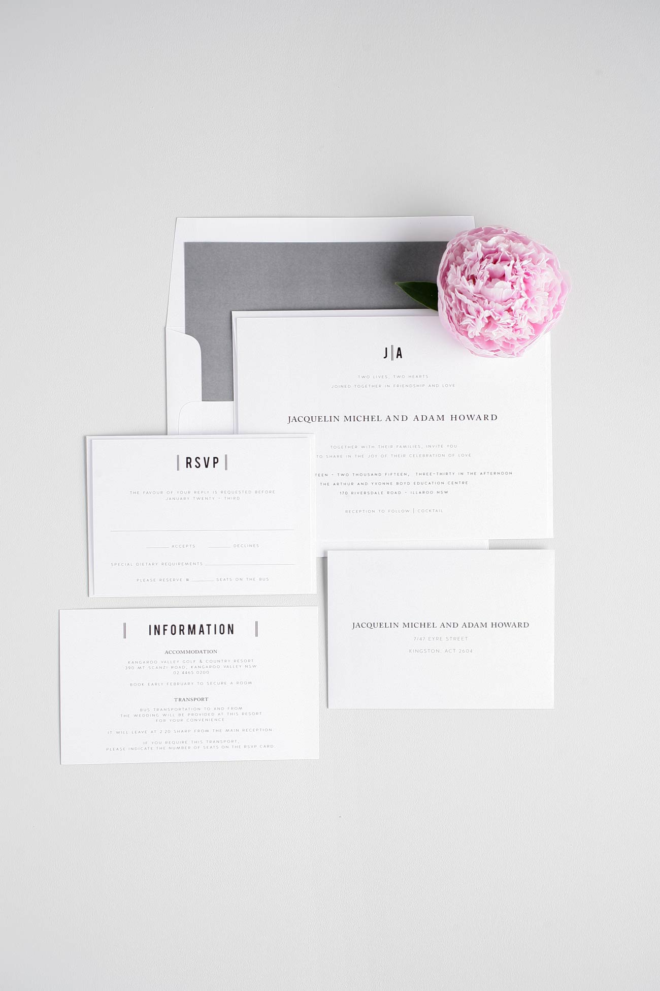 Vintage Wedding Invitations in Gray with a Modern Monogram