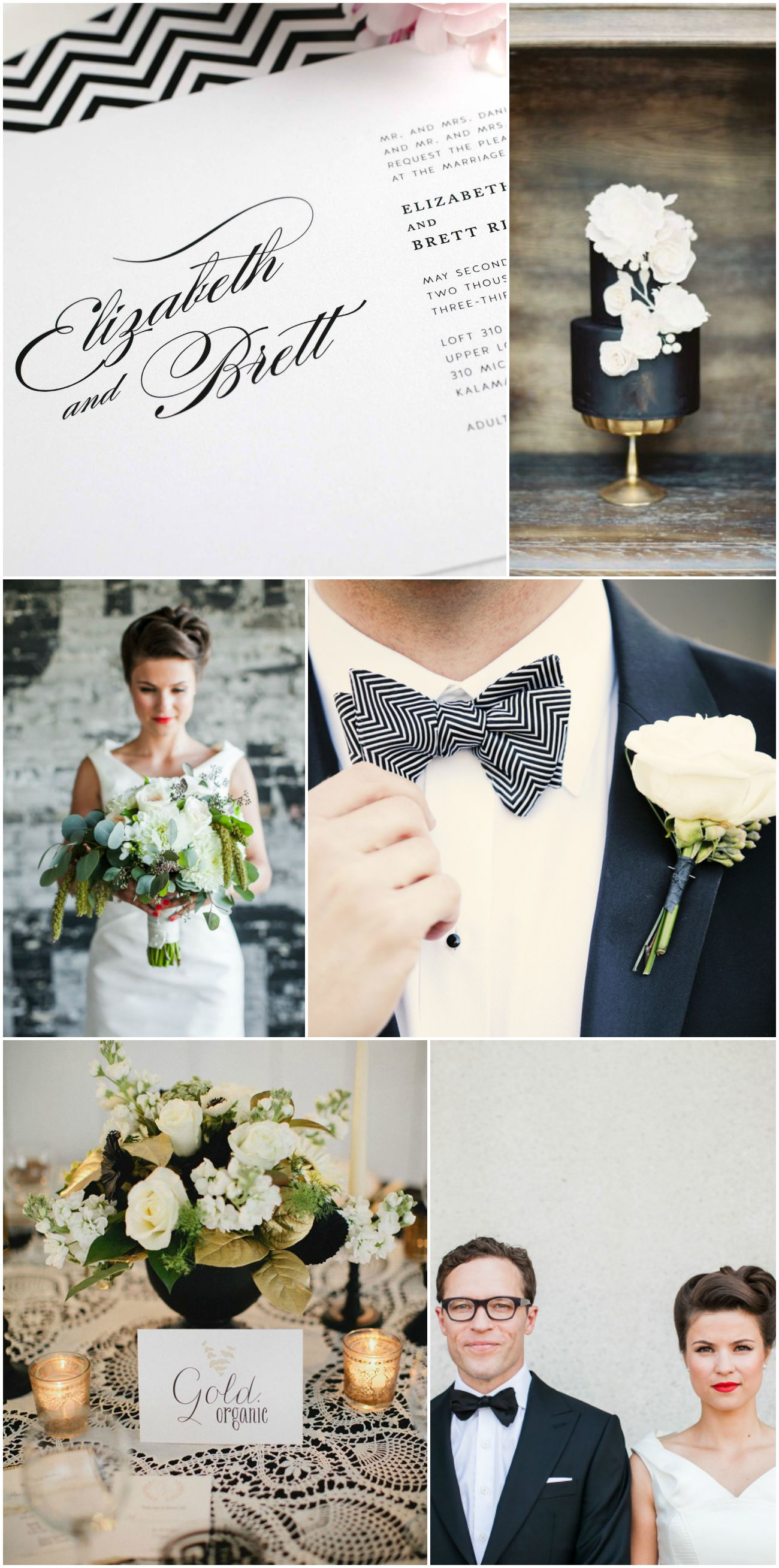 1940s glam black and white wedding inspiration