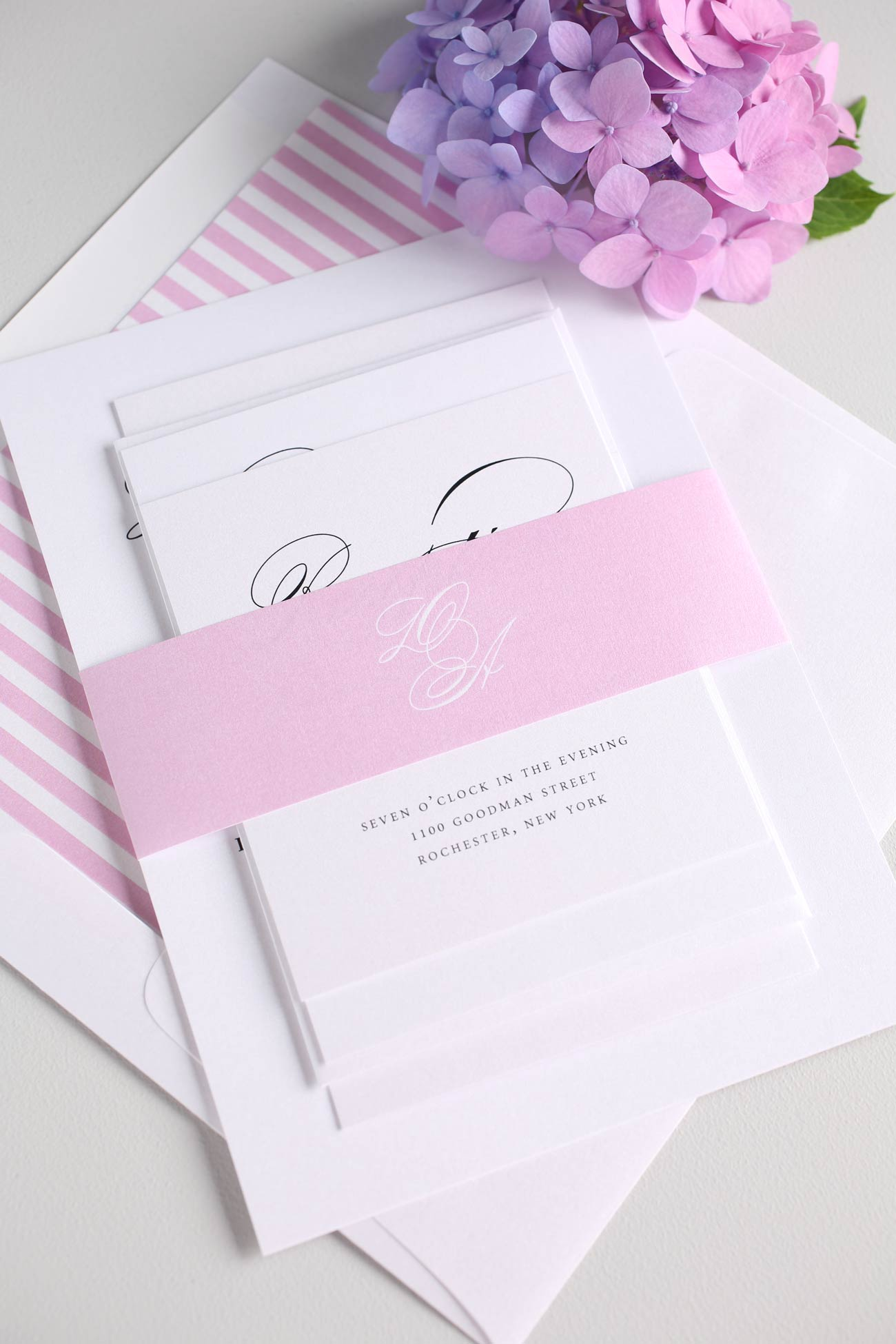 Blossom pink wedding invitations with stripe accents