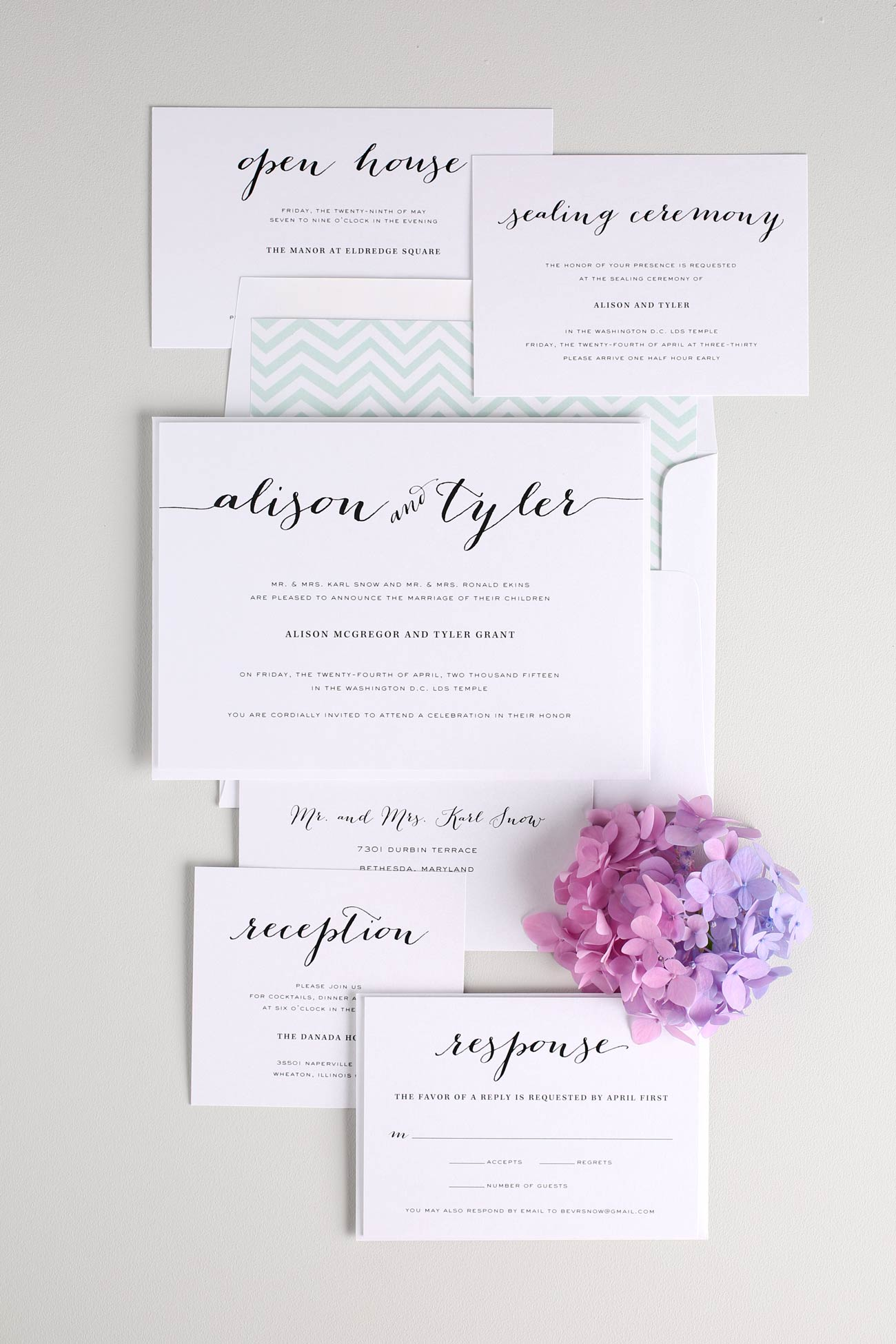 Calligraphy Wedding invitations in jade