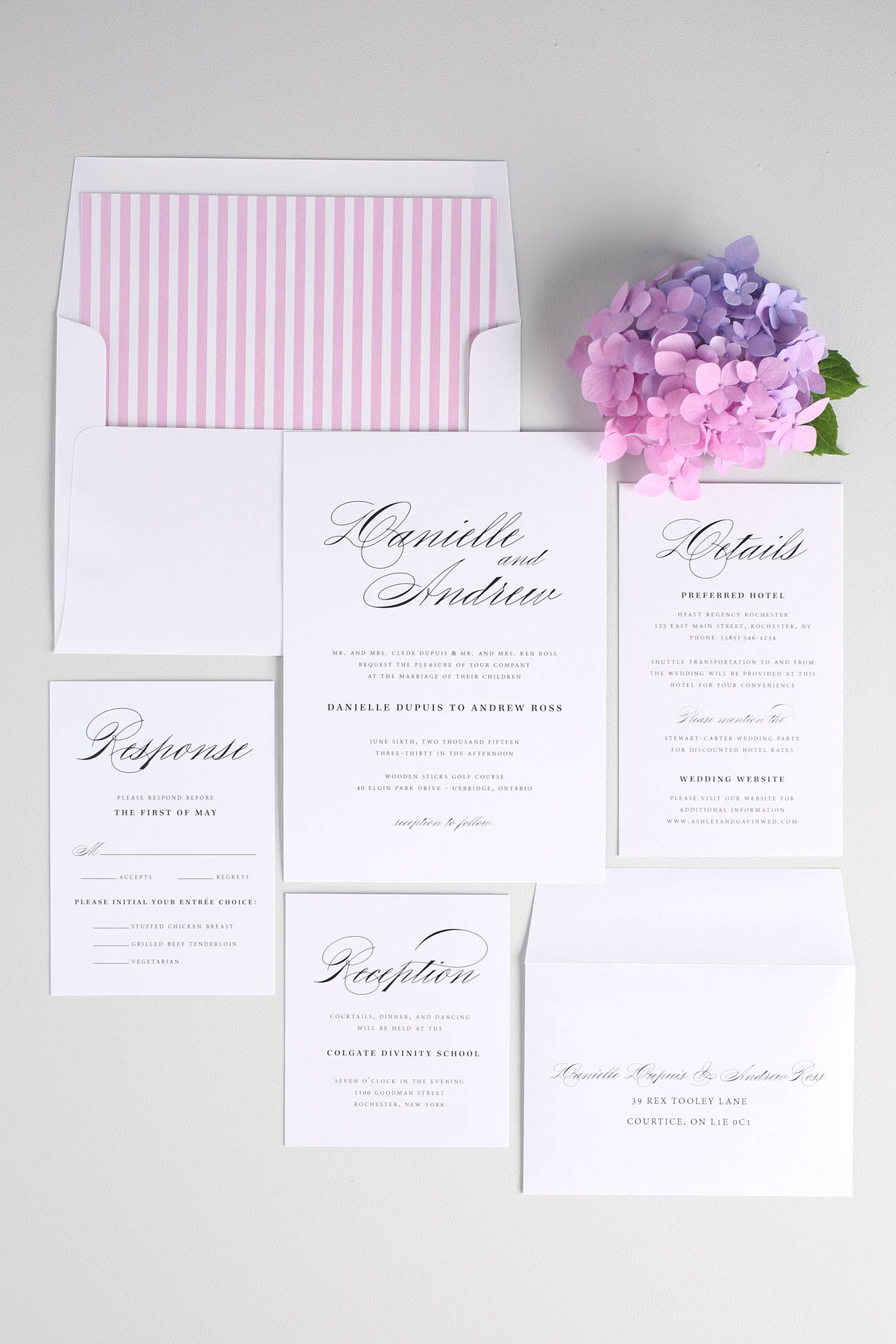 Calligraphy wedding invitations in pink