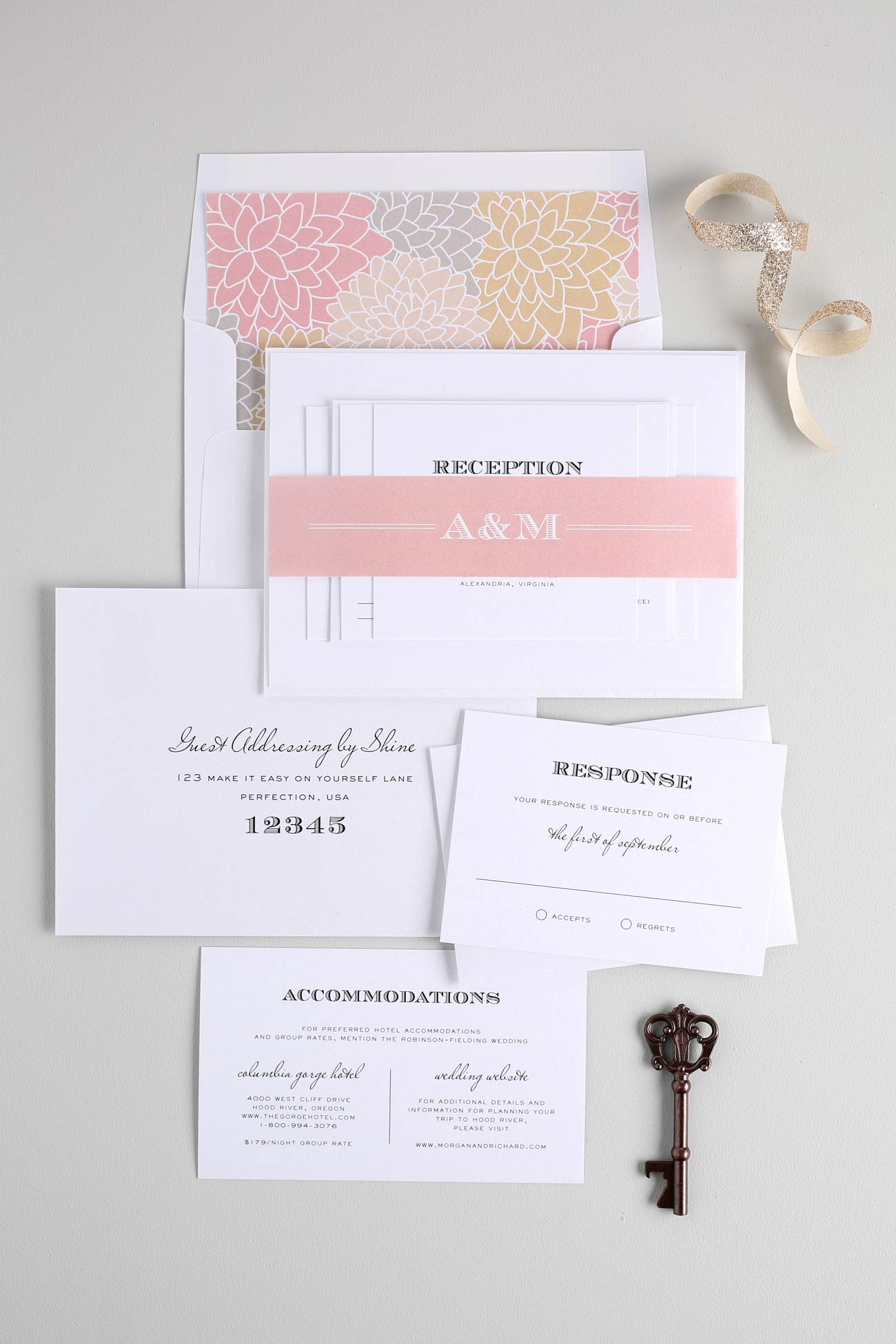 Champagne and Blush vintage wedding invitations