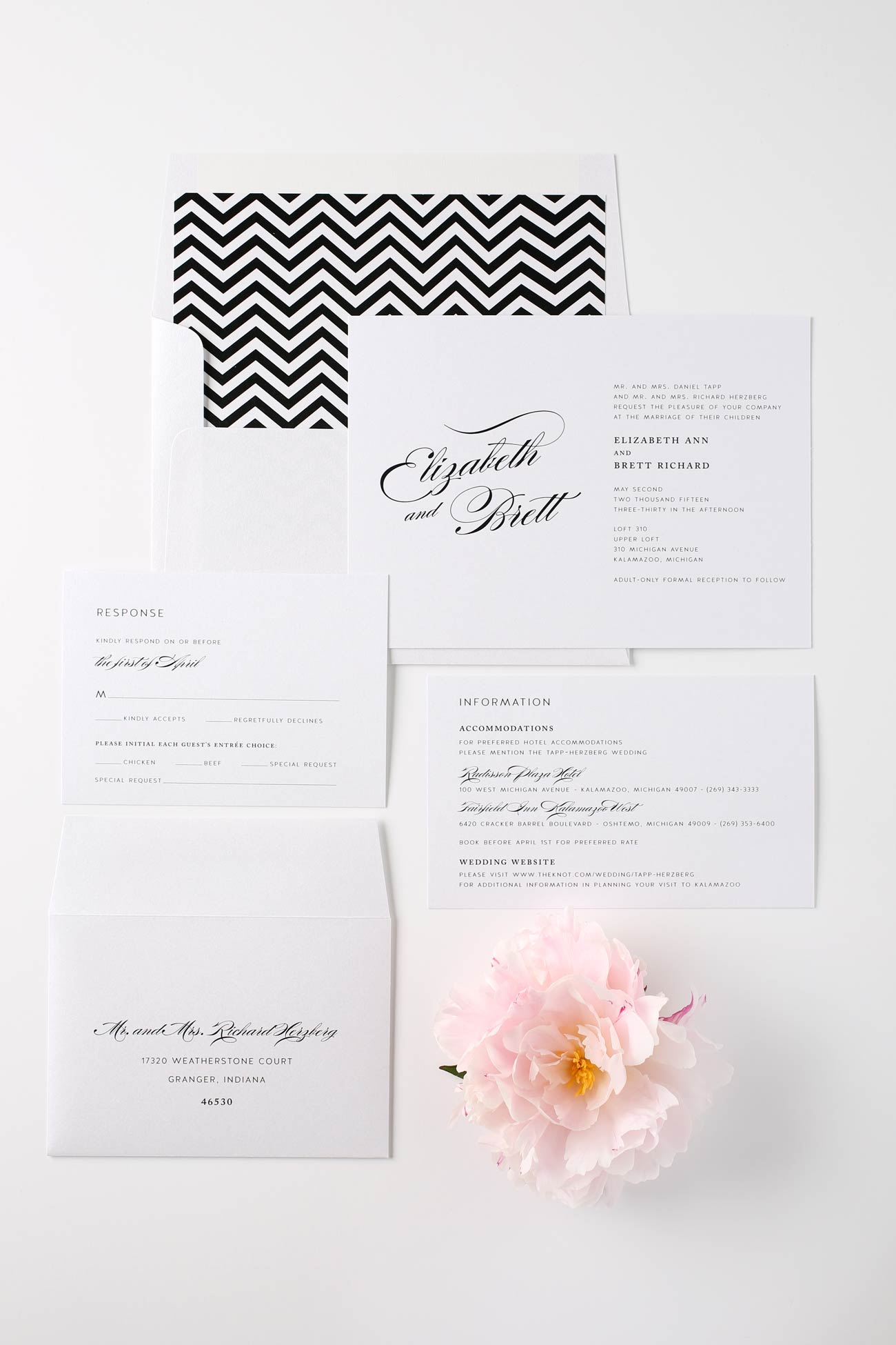 chevron wedding invitations in black and white