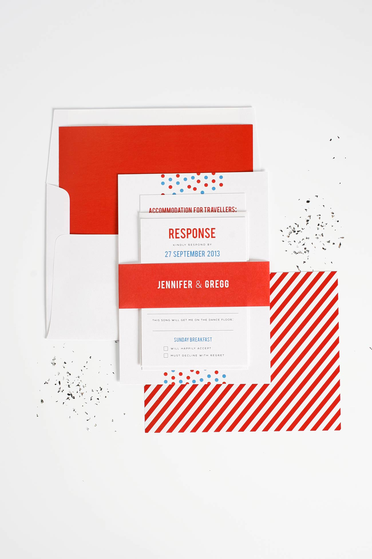 Confetti red, white, and blue wedding invitations