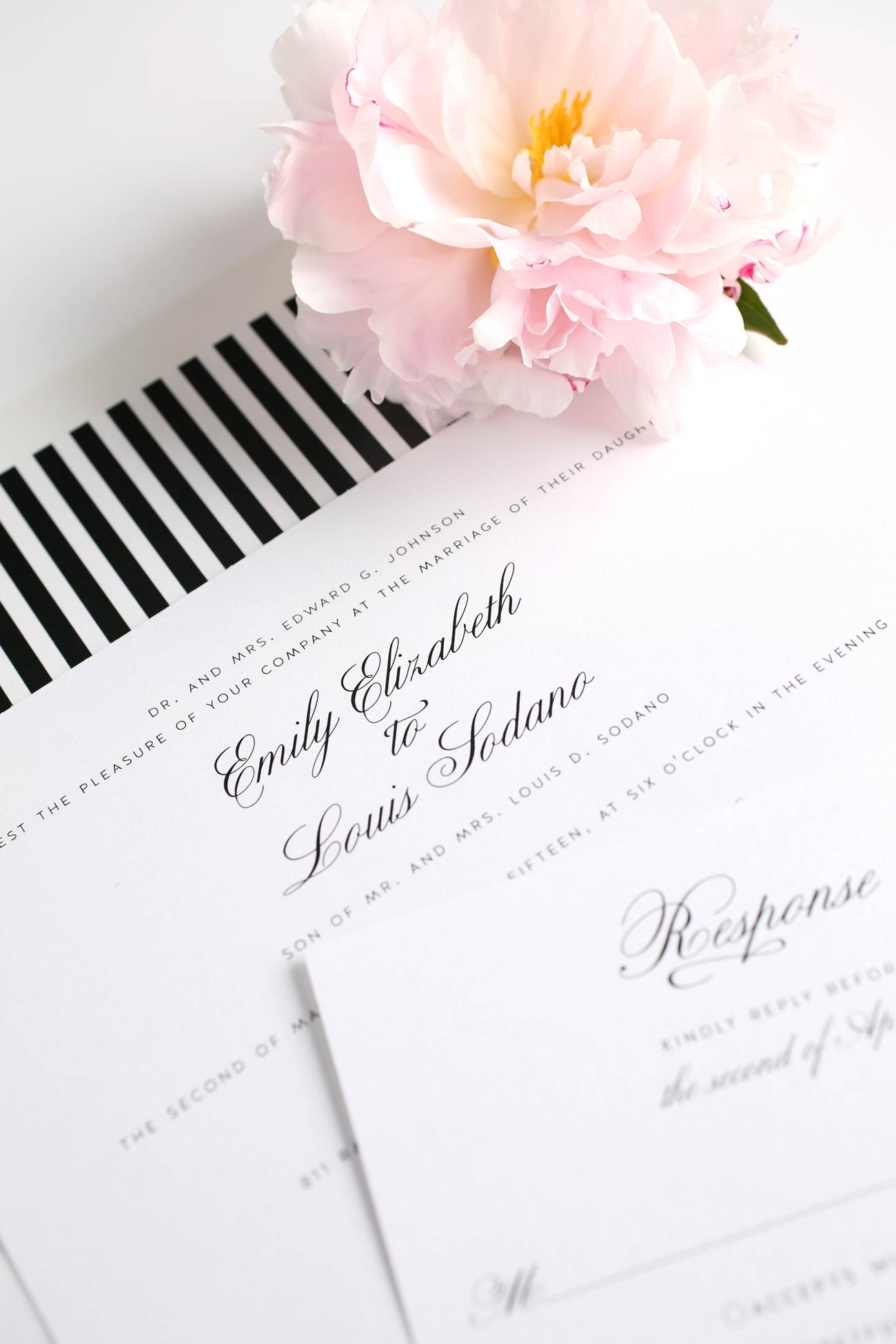 Vinta black and white striped wedding invitations