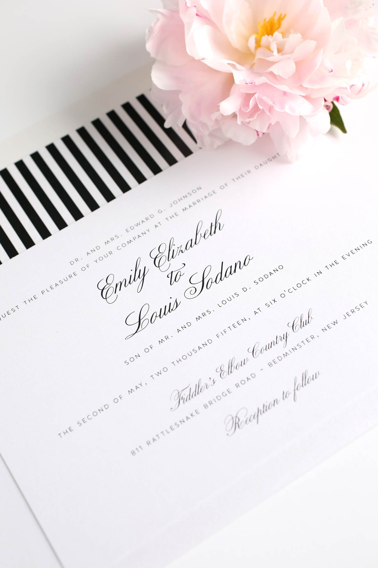 Elegant black and white wedding invites