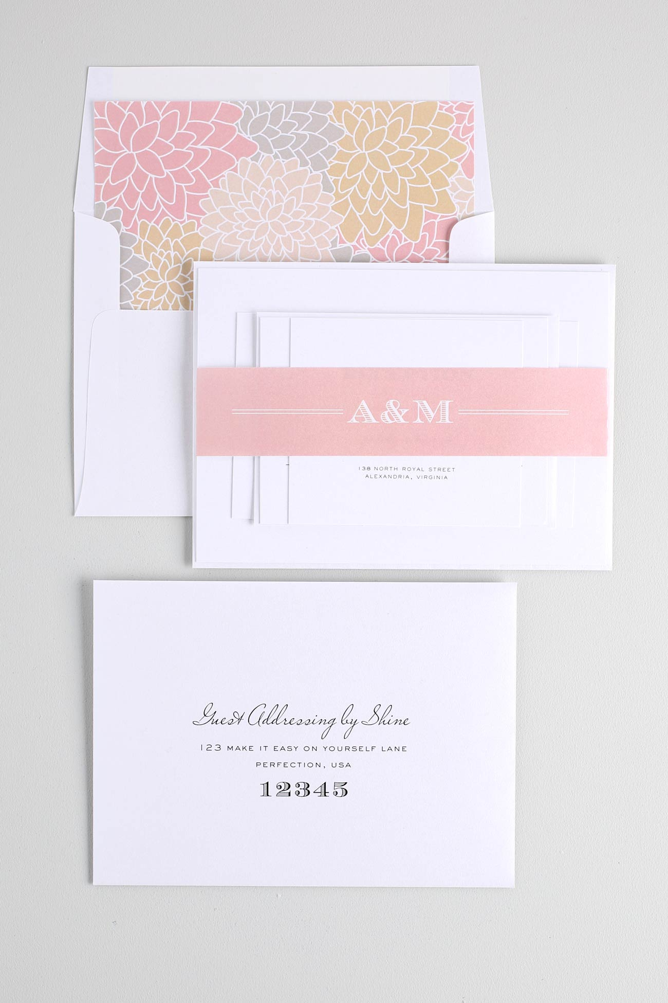 Engravers monogram Wedding Invitations in blush