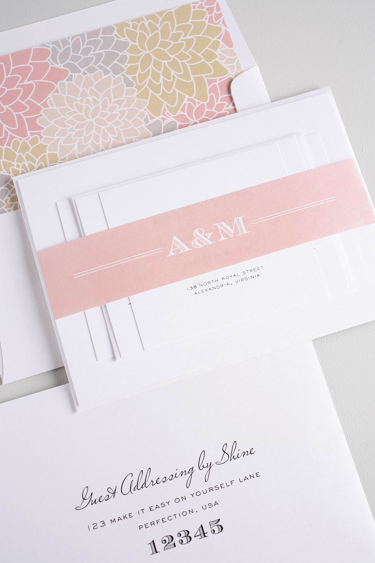 Floral wedding invitations in neutral palette