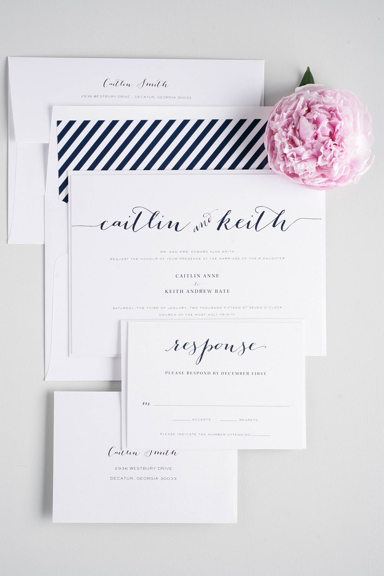 Flowing Script Wedding Invitations