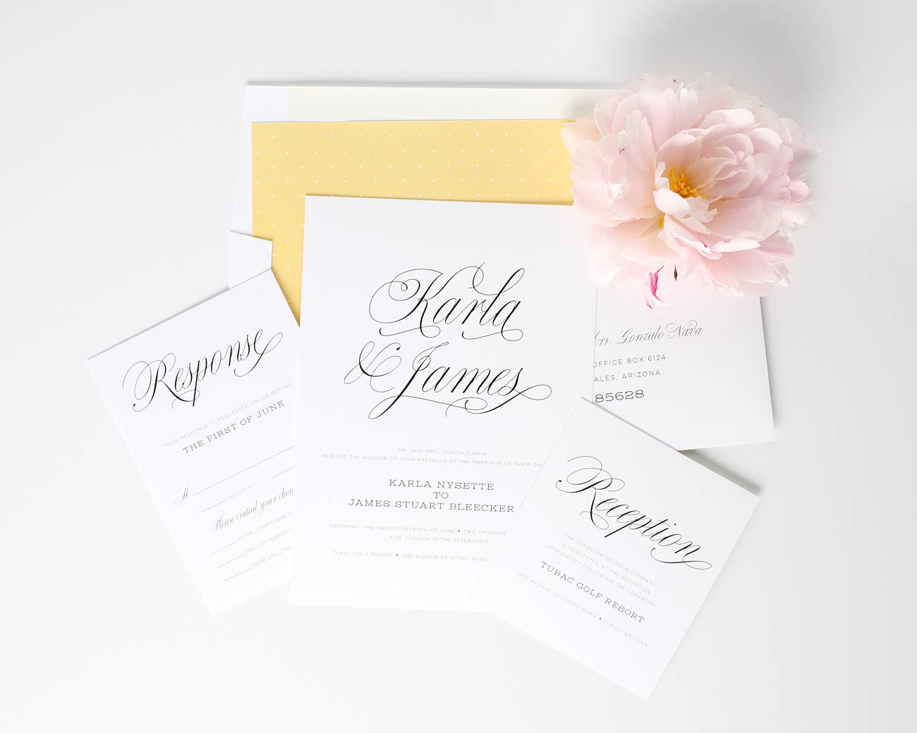 Garden wedding invitations in yellow with polka dots