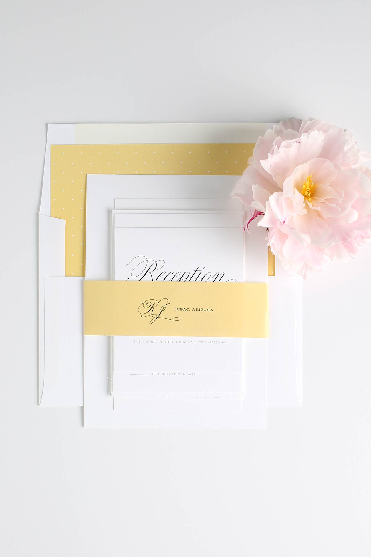 Secret garden wedding invitations with polka dot and yellow accents