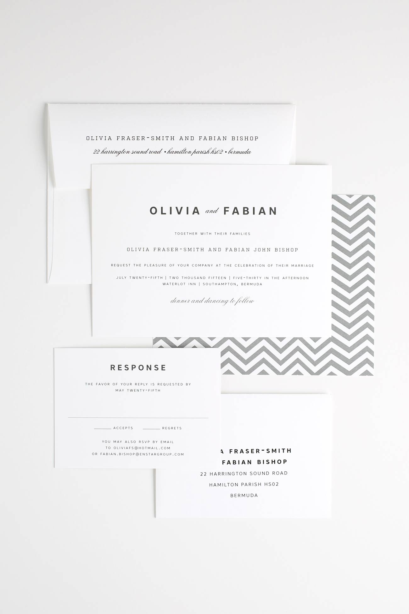 Gray urban chevron wedding invitations