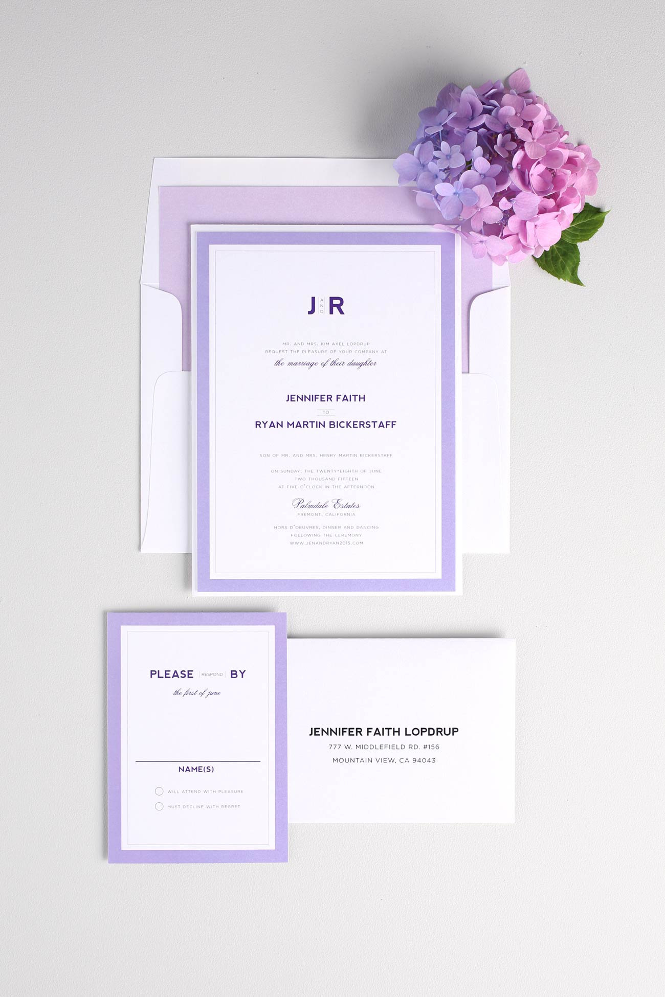 Modern purple wedding invitations with a contemporary monogram