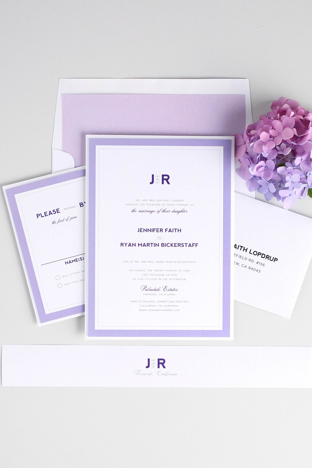 Modern wedding invitations in purple
