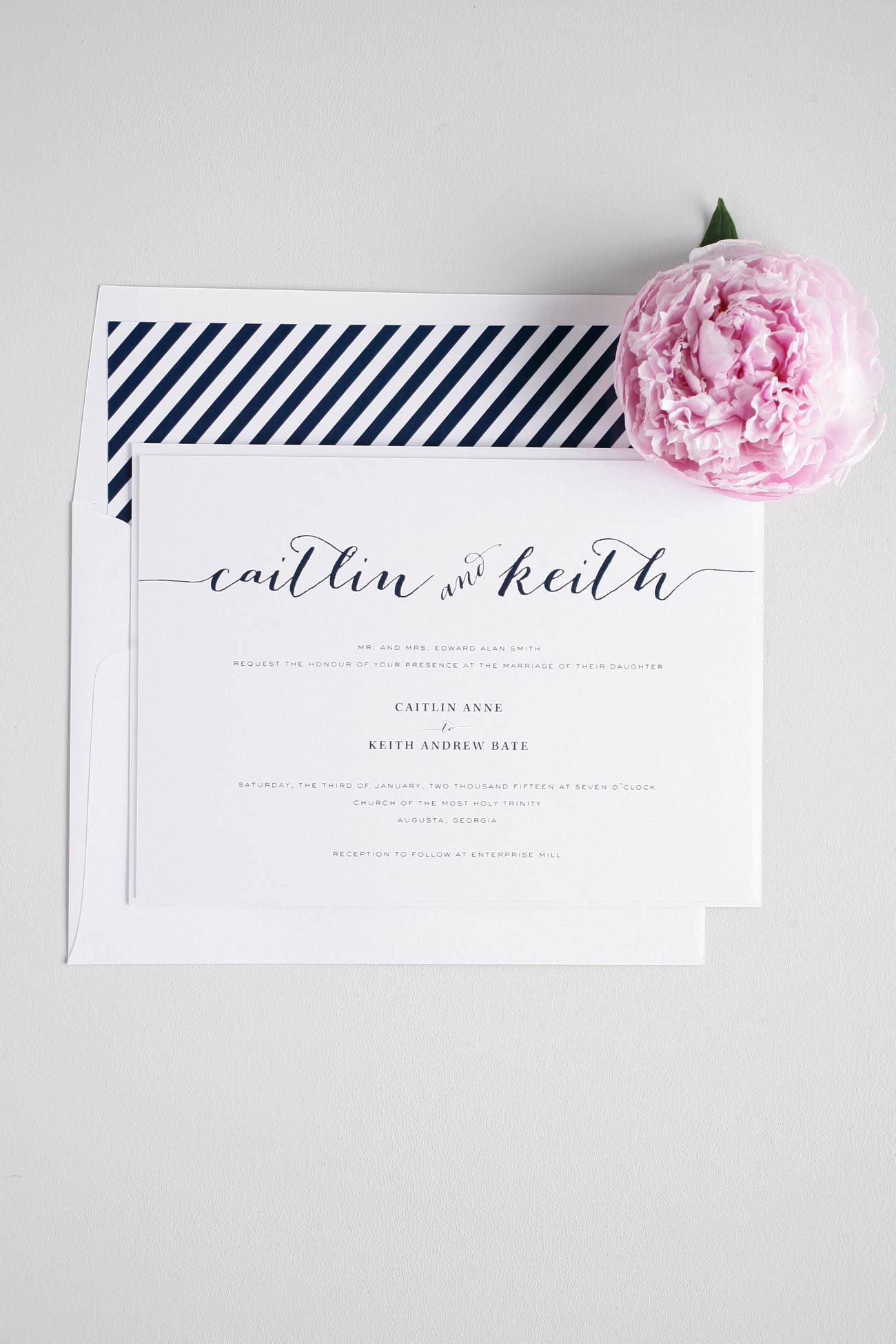 Navy blue calligraphy wedding invitations