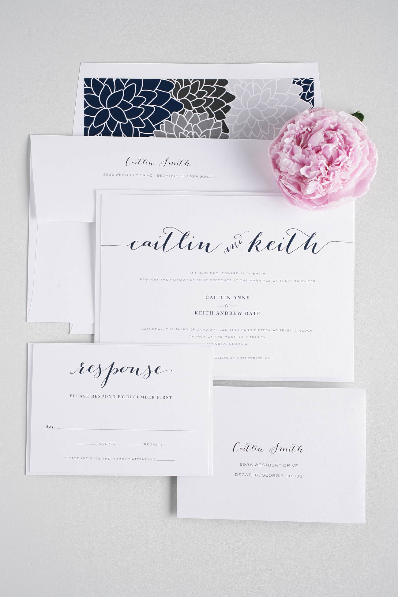 navy and gray wedding invitations with floral liner