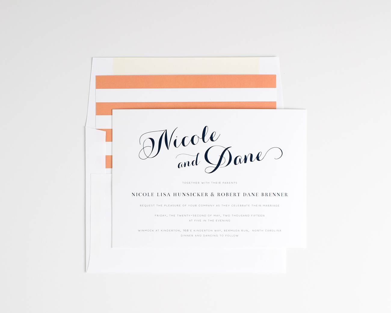 Script wedding invitations in peach