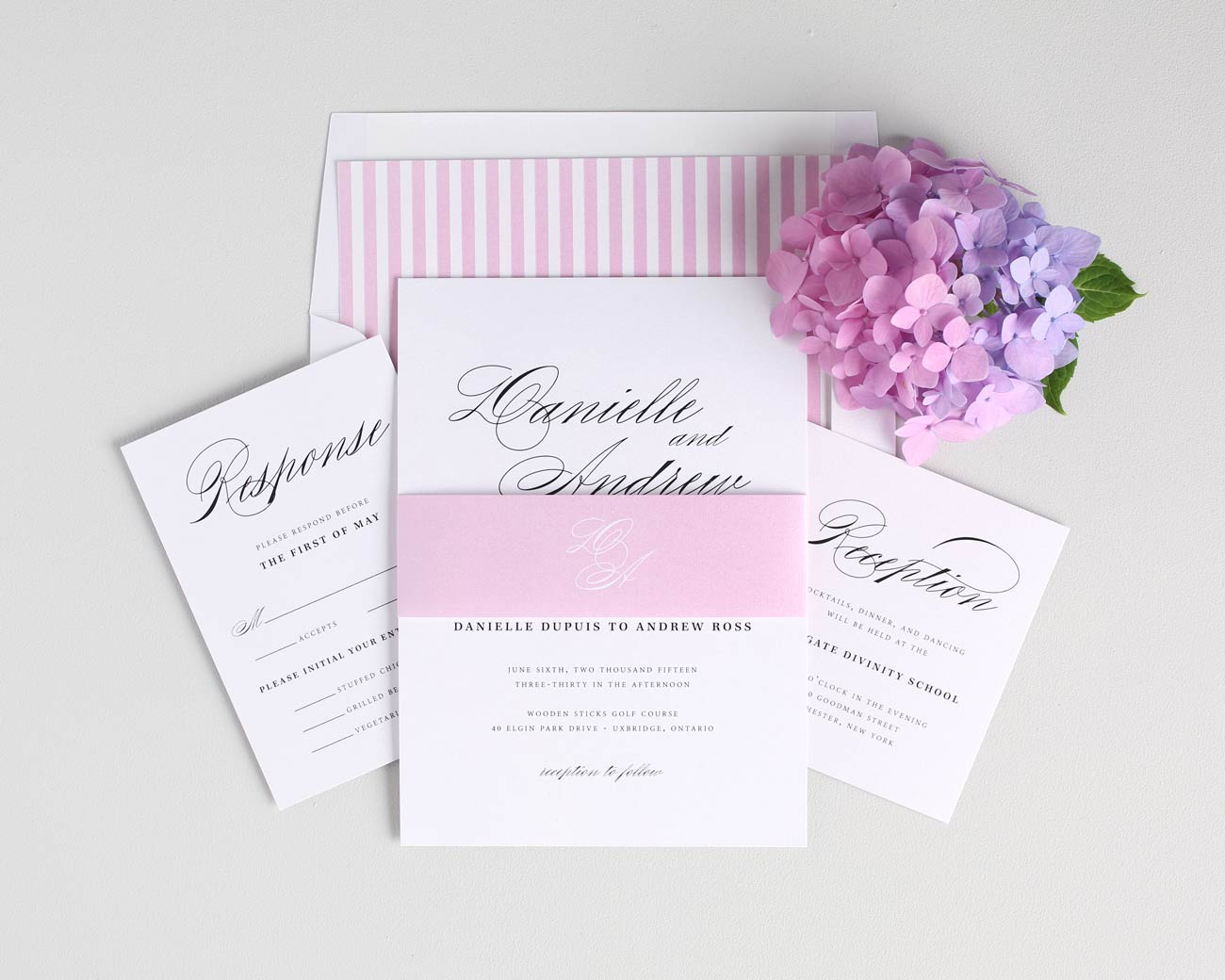 Pink Script Wedding Invitations with Striped Envelope Liner