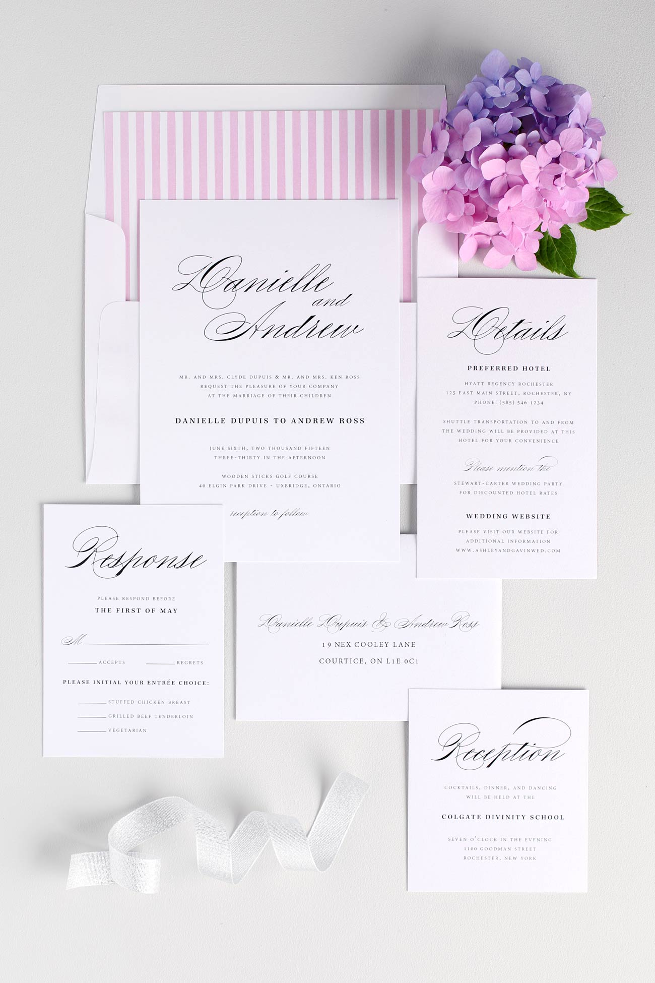 Pink classic and elegant wedding invitations
