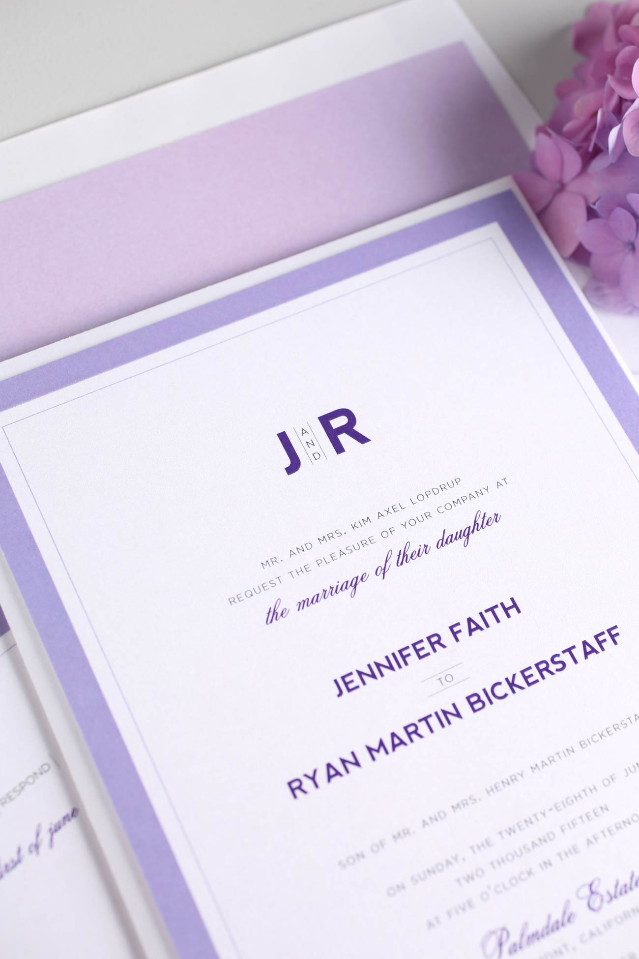 Purple wedding invitations with lilac accents