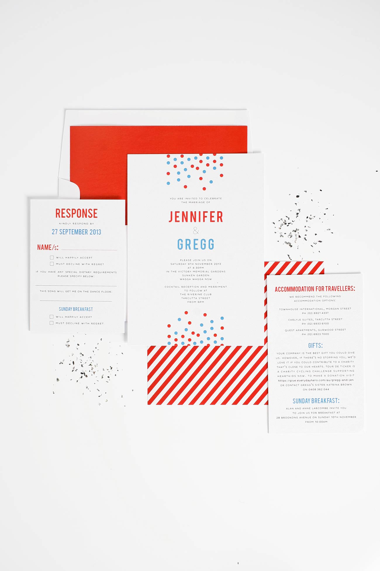 Red, white, and blue wedding invitations