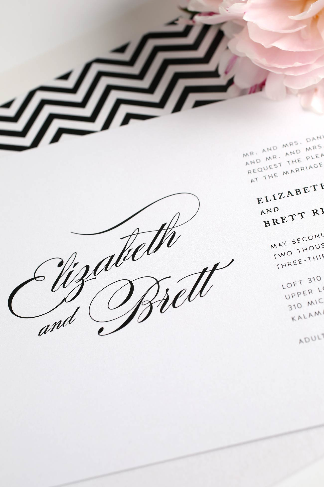Romantic black and white wedding invitations