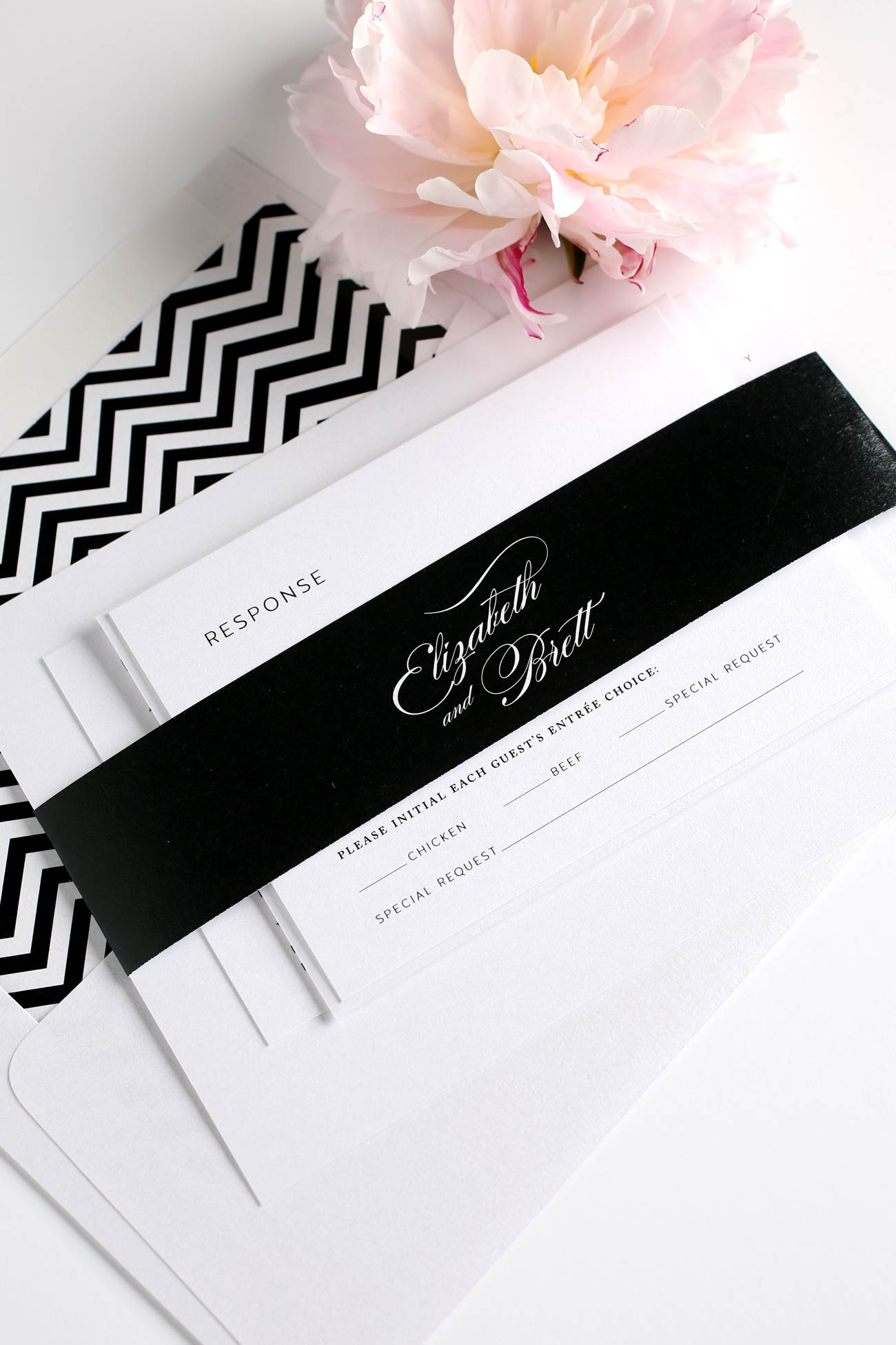 Romantic chevron wedding invitations