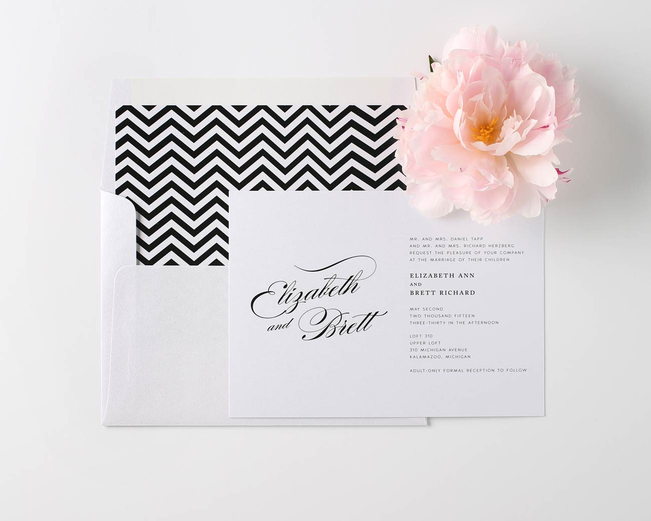 Romantic glam wedding invitations with chevron details