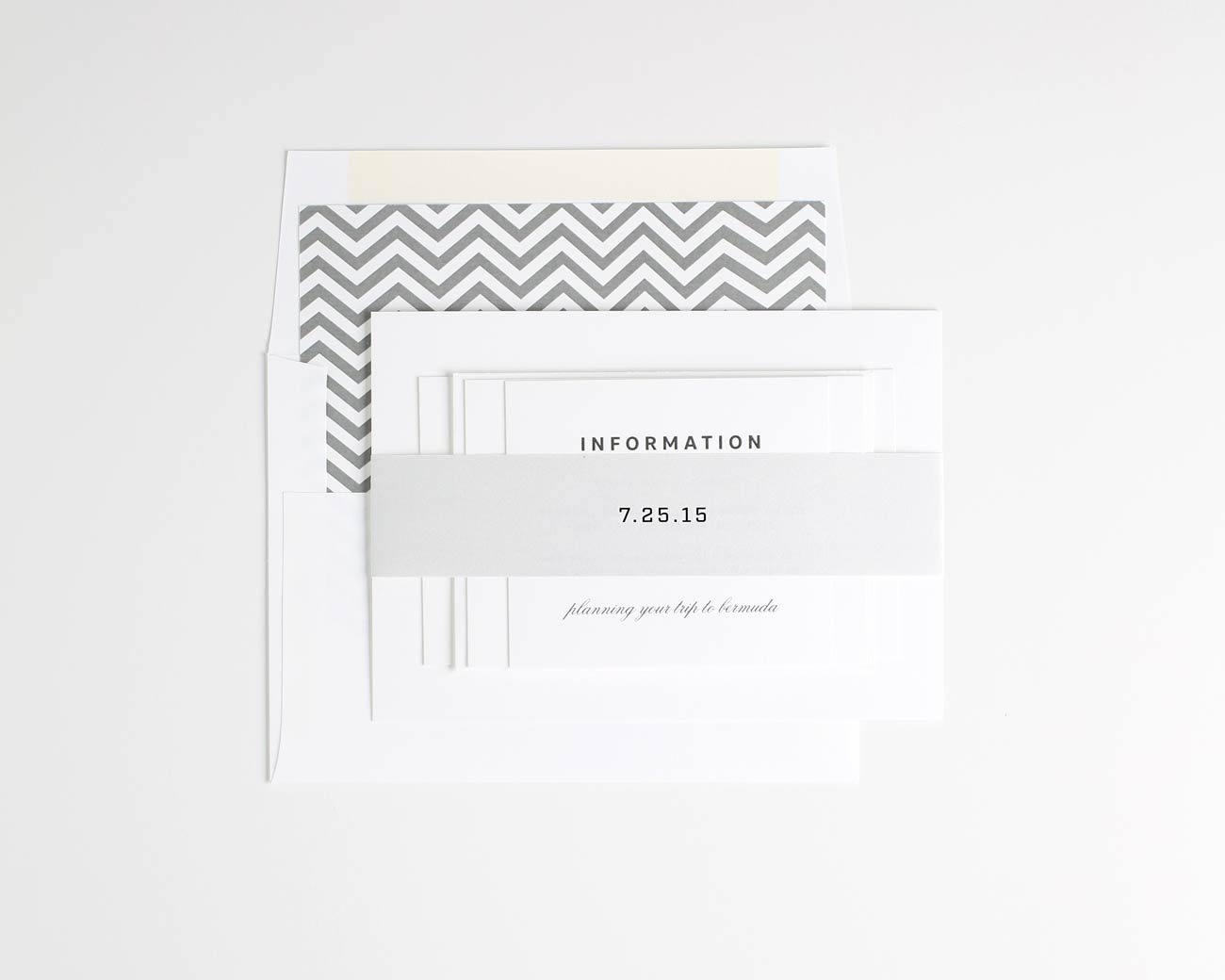 Romantic gray chevron wedding invitations