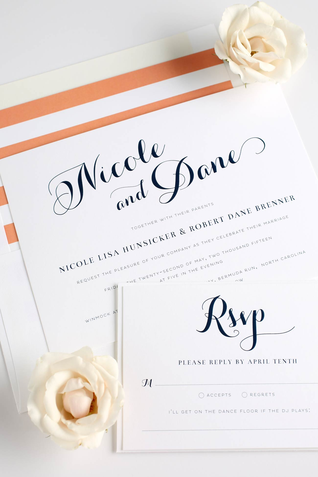 Romantic wedding invitations with gorgeous script