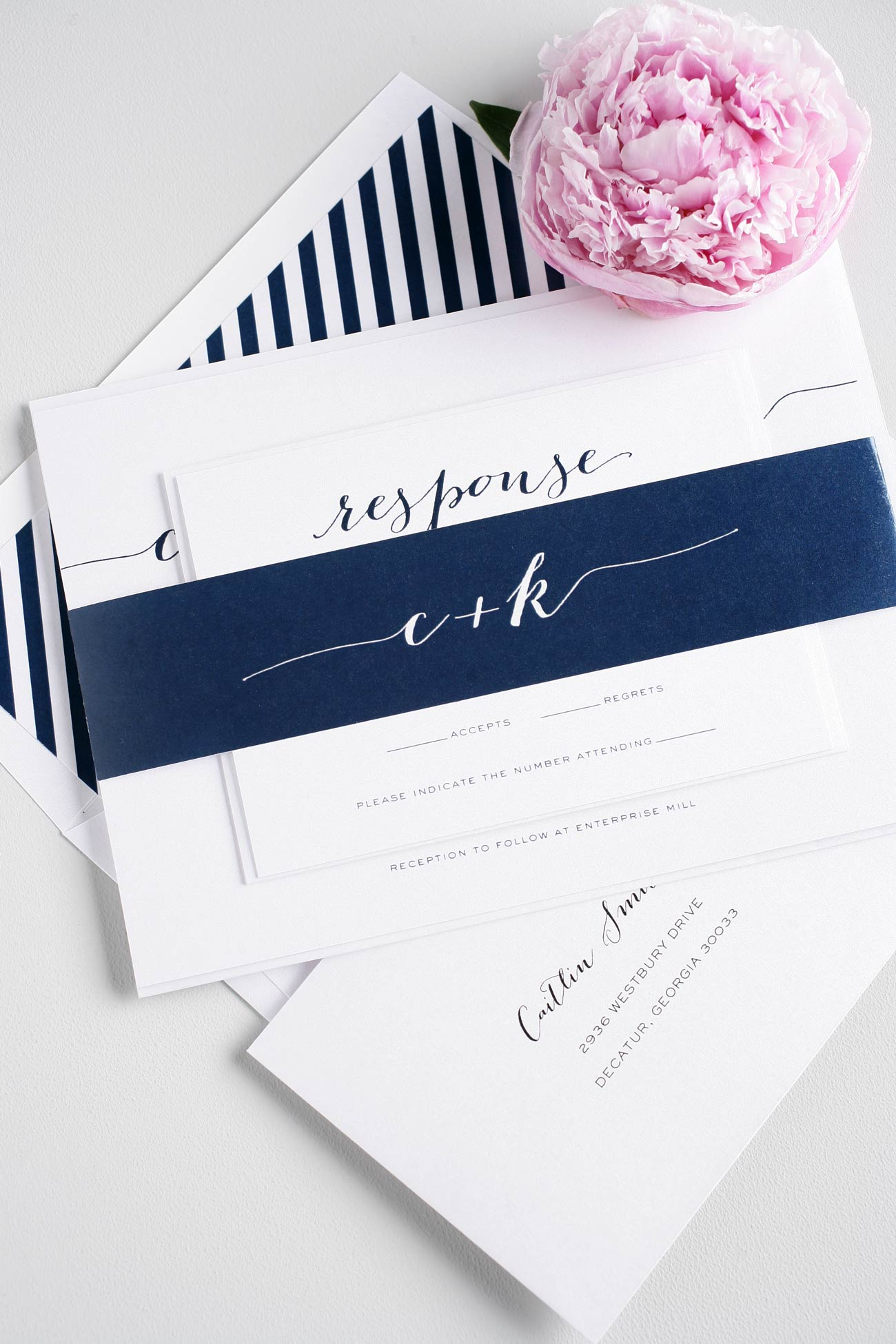 Script Navy wedding invitations with stripes