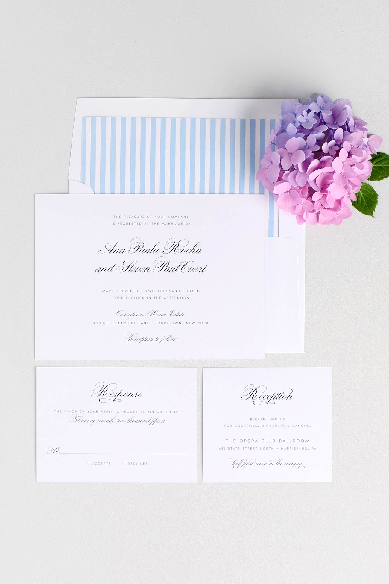 Sky Blue wedding invites with stripe envelope liner