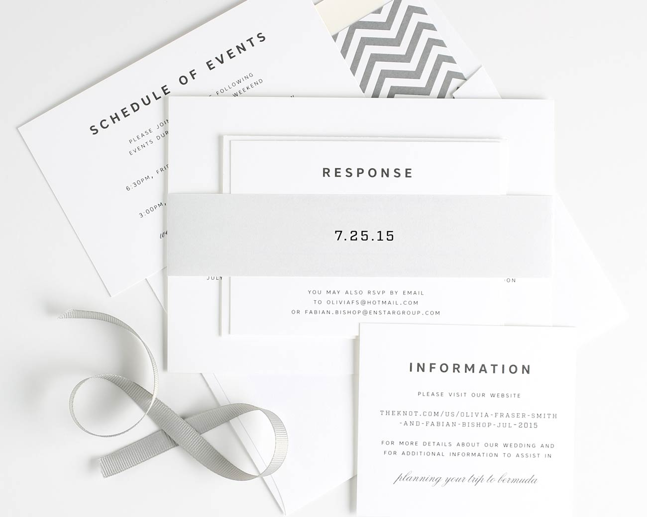 Urban gray chevron wedding invites