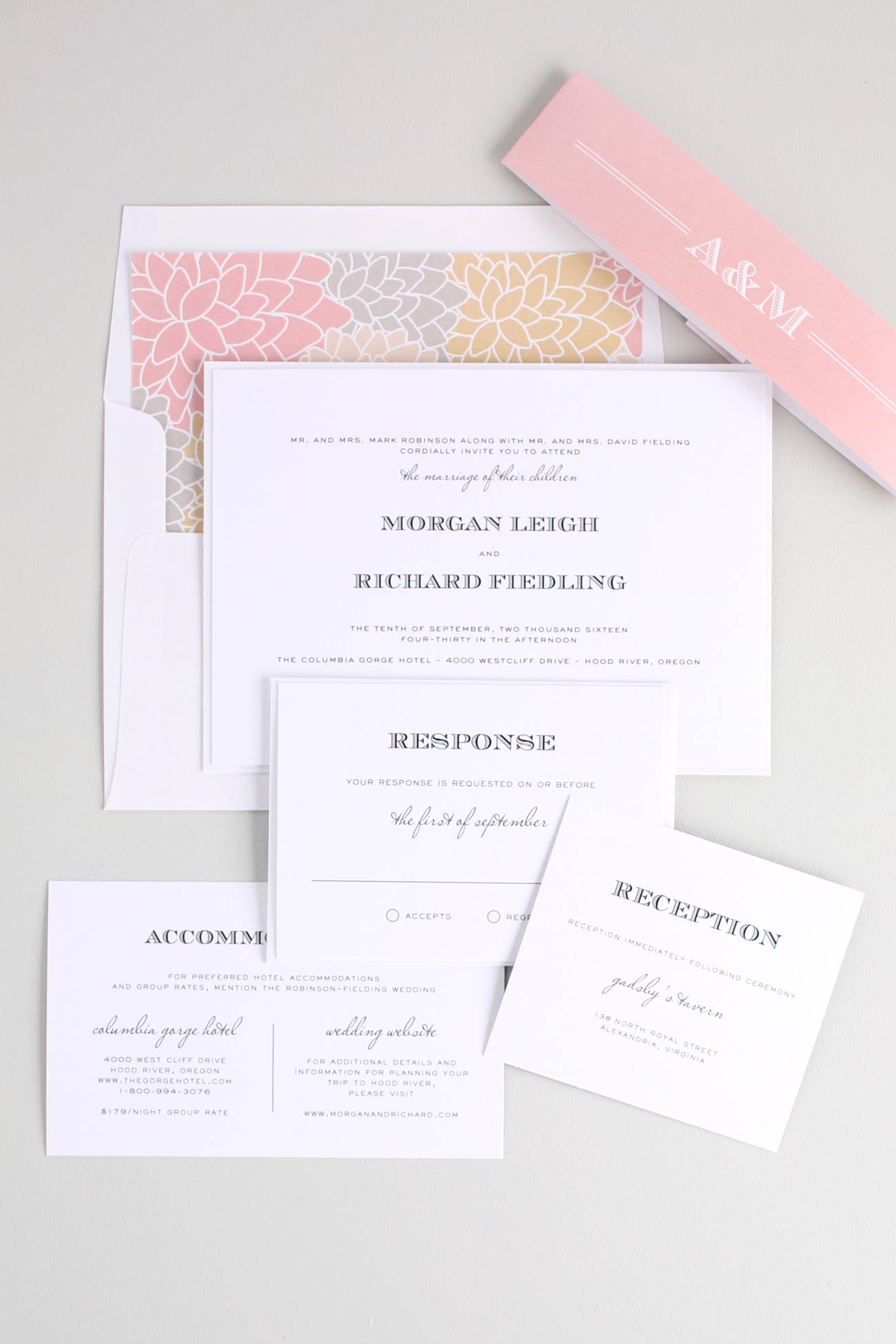 Vintage blush and champagne wedding invites with floral pattern